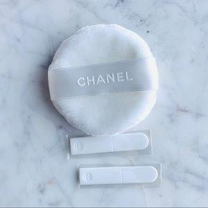 3 PC Chanel powder puff and makeup spatula